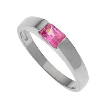 Sterling Silver Bubble Gum Pink Cz Band Ring Size 9