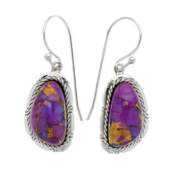 Sterling Silver Freeform Purple Mohave Turquoise Earrings