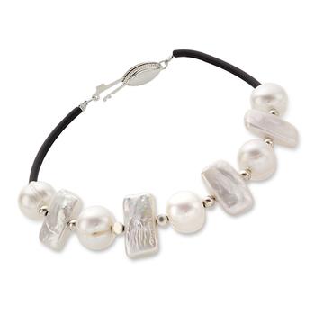 Sterling Silver Freshwater Pearl Leather Bracelet