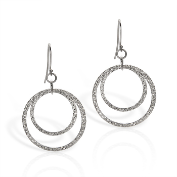 Sterling Silver Hammered Circle Dangle Earrings