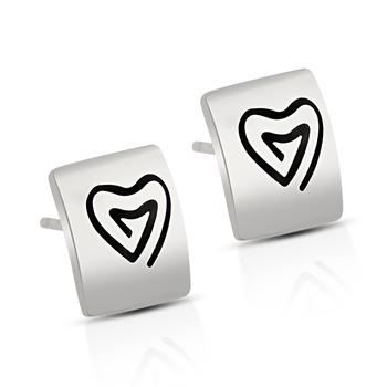 Sterling Silver Heart Stud Earrings