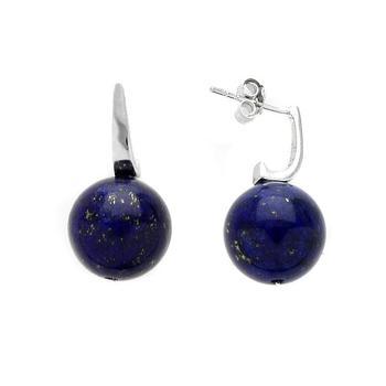 Sterling Silver Lapis 12mm Bead Drop Earrings