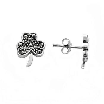 Sterling Silver Marcasit 3 Leaf Clover Stud Earrings