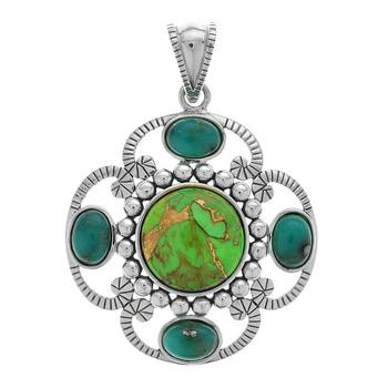Sterling Silver Multi Turquoise Textured Pendant