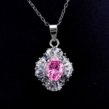 Sterling Silver Oval Cut Pink CZ with Wavy Baguette Pendant with Chain