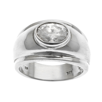 Sterling Silver Oval CZ Ring-SZ 7.5