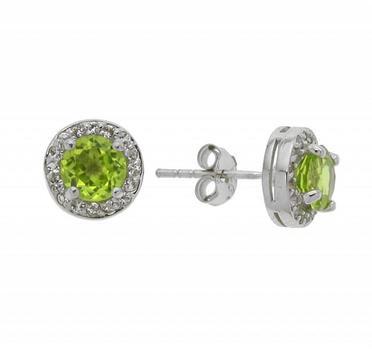 Sterling Silver Peridot Halo Stud Earrings