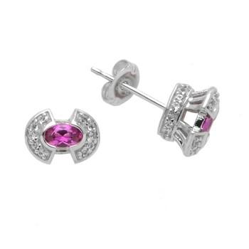 Sterling Silver Pink CZ Stud Earrings