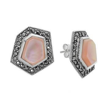Sterling Silver Pink MOP & Marcasite Geometric Earrings