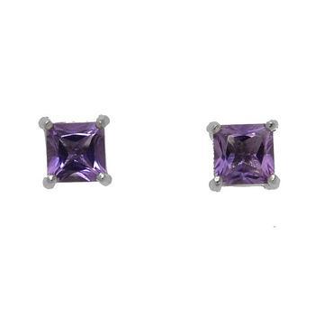 Sterling Silver Princess Cut Amethyst Stud Earrings