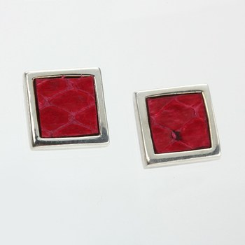 Red Leather Sterling silver Panel Earrings