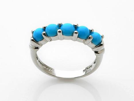 Sterling Silver Round Sleeping Beauty Turquoise Five Stone Ring-Size 6