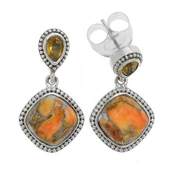 Sterling Silver Spiny Oyster & Citrine Beaded Drop Earrings
