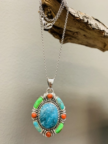 Sterling Silver Turquoise & Abalone Reversible Pendant