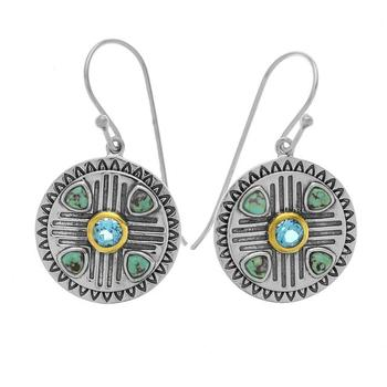 Sterling Silver Turquoise Disc Dangle Earrings