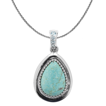 Sterling Silver Turquoise & Swiss Blue Topaz Pear Shaped Pendant