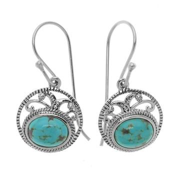 Sterling Silver Turquoise Textured Earrings