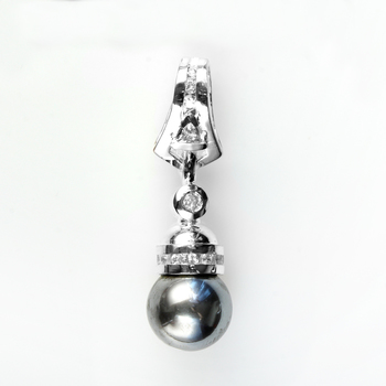 Sterling Silver With Black Pearl &CZ