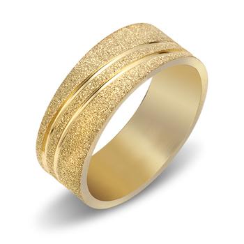 Struttura Men's Gold-Toned Stainless Steel Sand Blast Two Lane Ring ~ Size 10