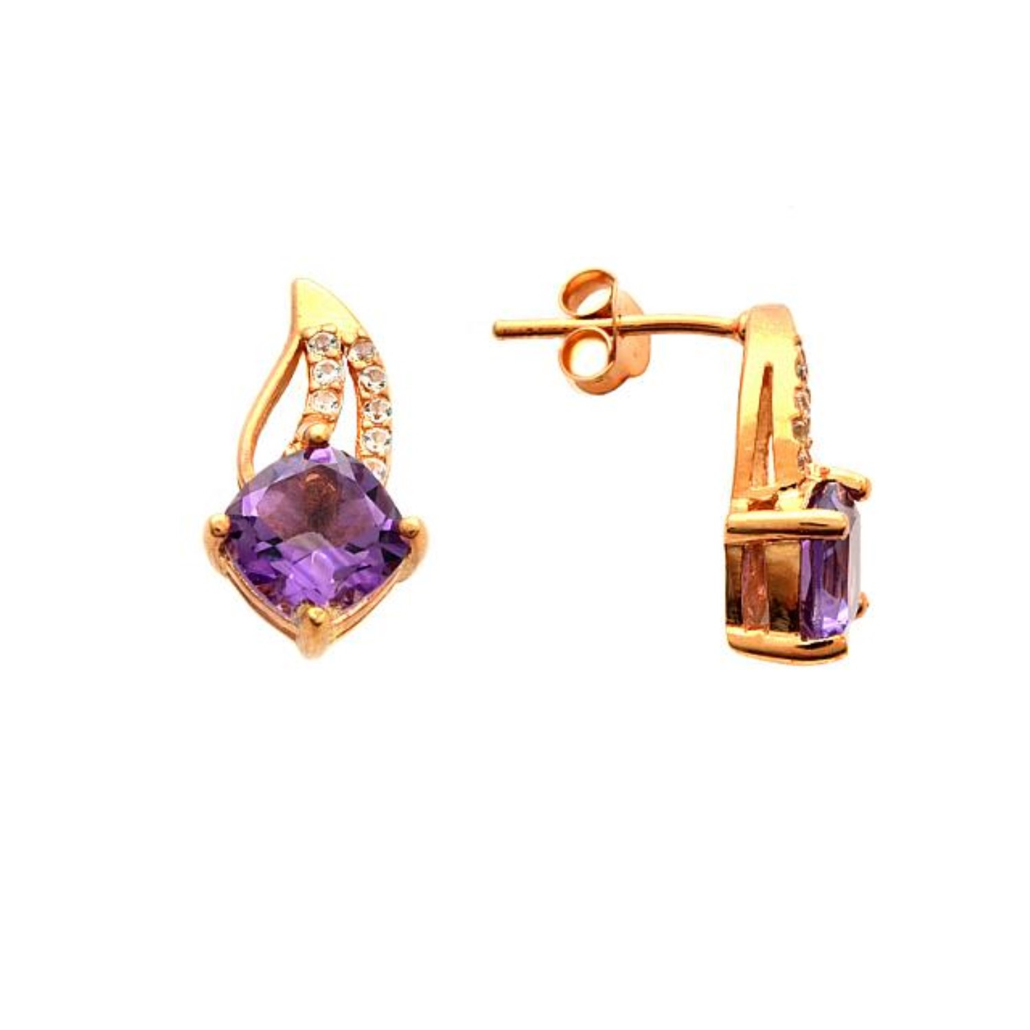 An Image Relevant To This Listing 14krose Gold Over Ss Luxury Amethyst And White Cz Earrings