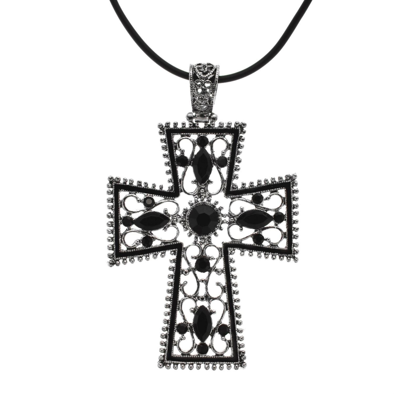 18 black onyx cross pendant necklace property room 18 black onyx cross pendant necklace aloadofball Choice Image