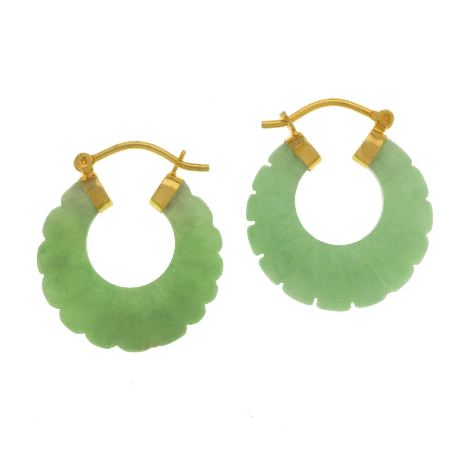 An Image Relevant To This Listing 18k Over Sterling Silver Green Carved Jade Hoop Earrings
