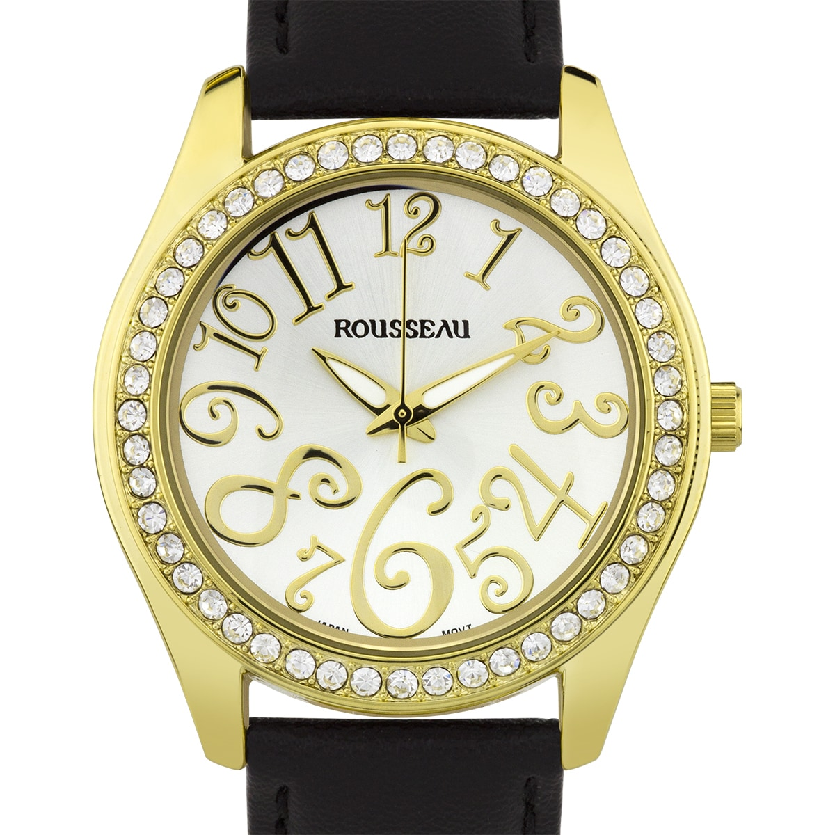 444e76e38cb2 Rousseau Calame Ladies Watch - Black Genuine Leather Strap