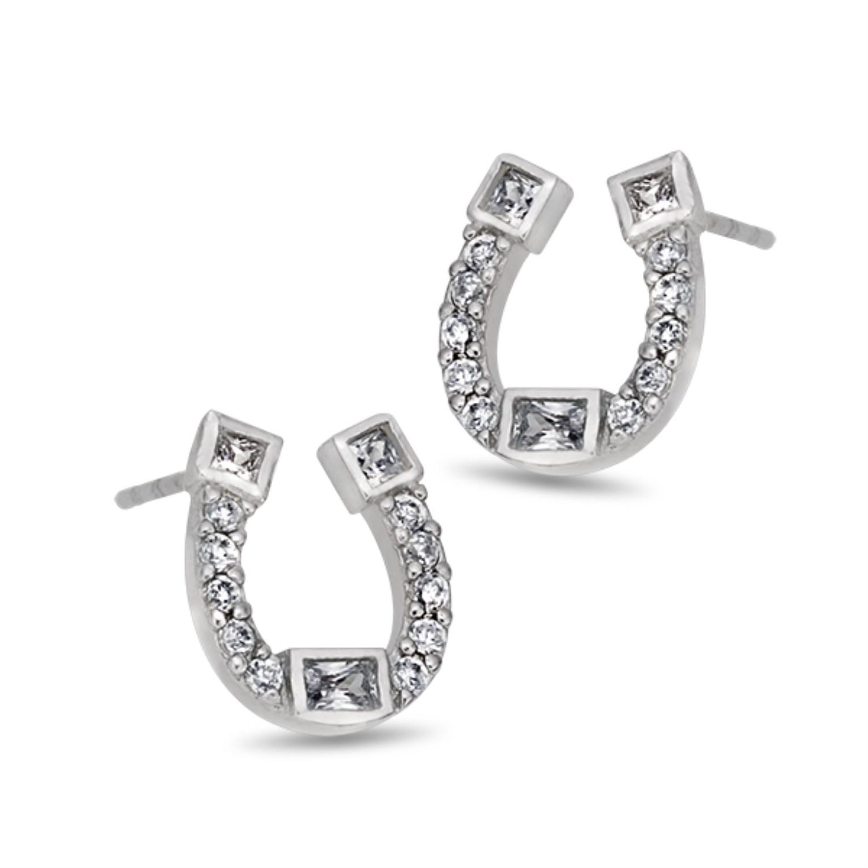 Simulated Diamond Horseshoe Stud Earrings