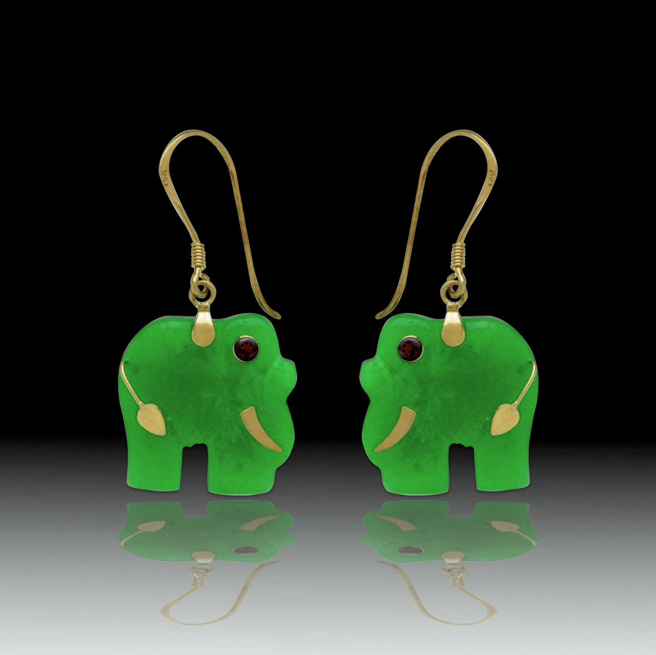 An Image Relevant To This Listing 14ky Jade Elephant Dangle Earrings