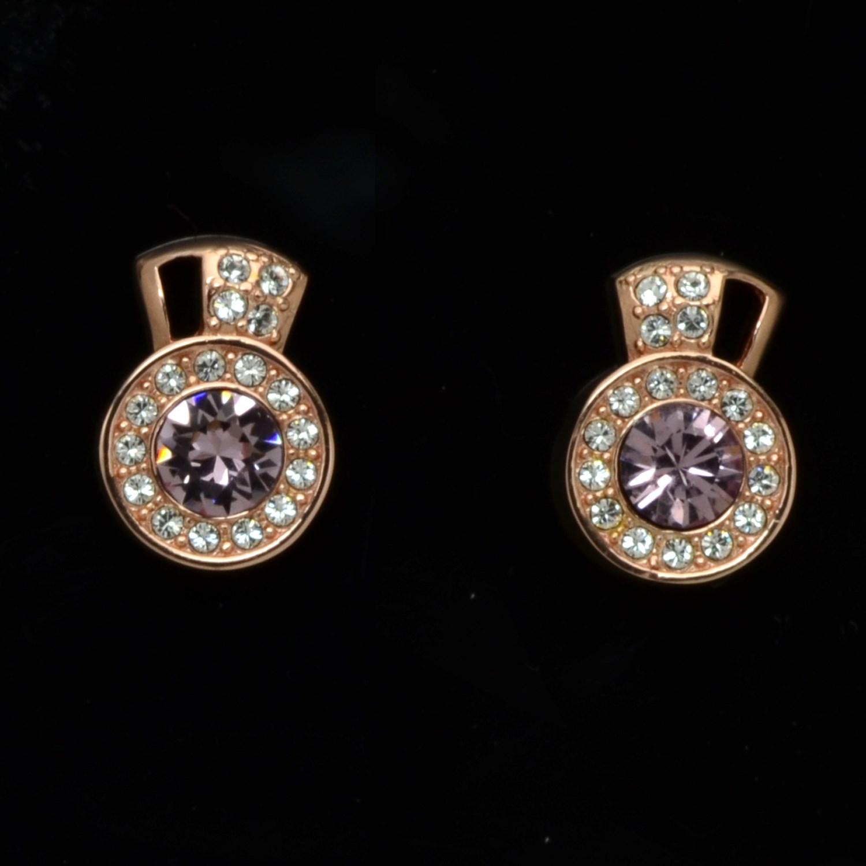 Sterling Silver 18k Rose Gold Halo Stud Earrings Made W Swarovski Elements