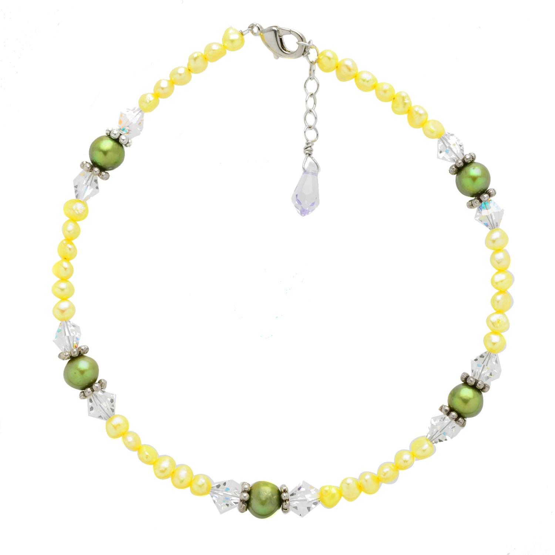 925 Sterling Silver Multi Freshwater Pearl Swarovski Crystal Ankle Bracelet 9 5