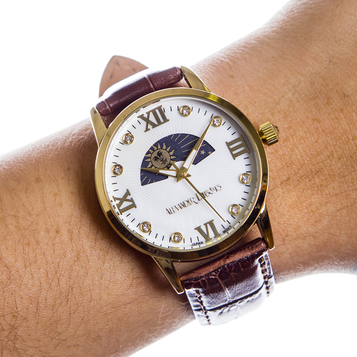 Casual Moon Phase Dial Ladies Leather Watch | Property Room