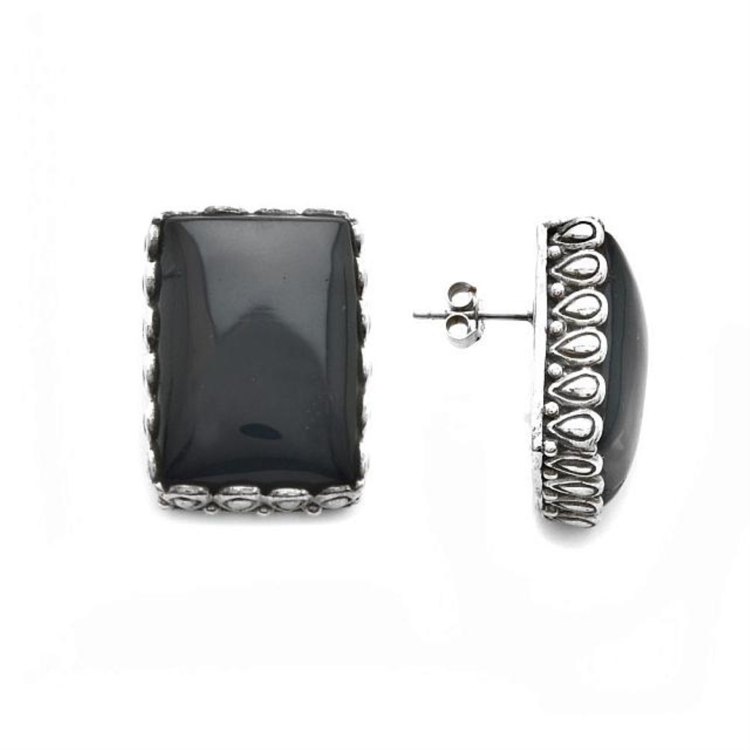 An Image Relevant To This Listing Large Black Onyx Stud Earrings