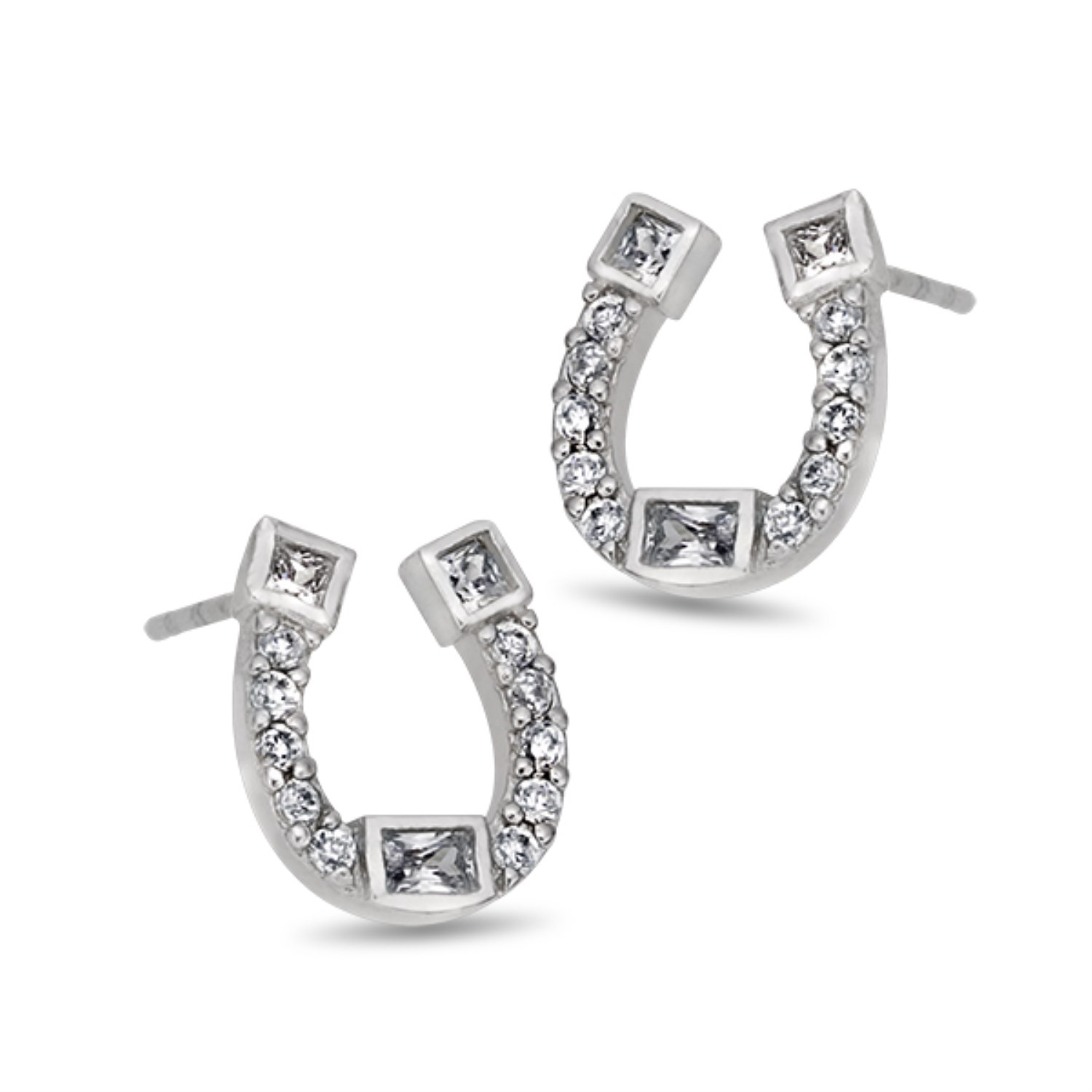 An Image Relevant To This Listing Simulated Diamond Horseshoe Stud Earrings