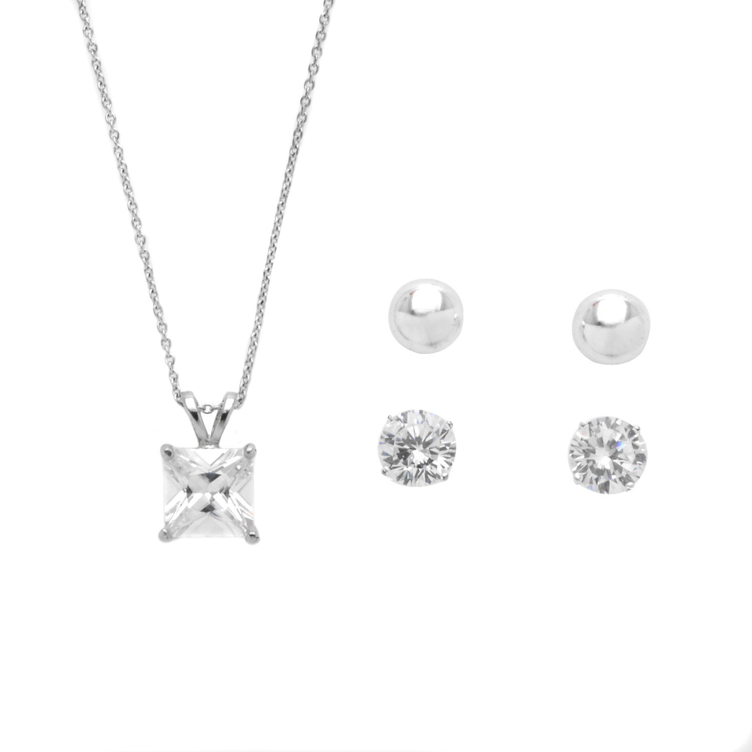 Set Cz Necklace Earring