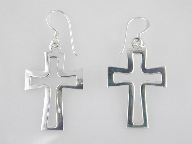 An Image Relevant To This Listing Sterling Silver Cross Earrings
