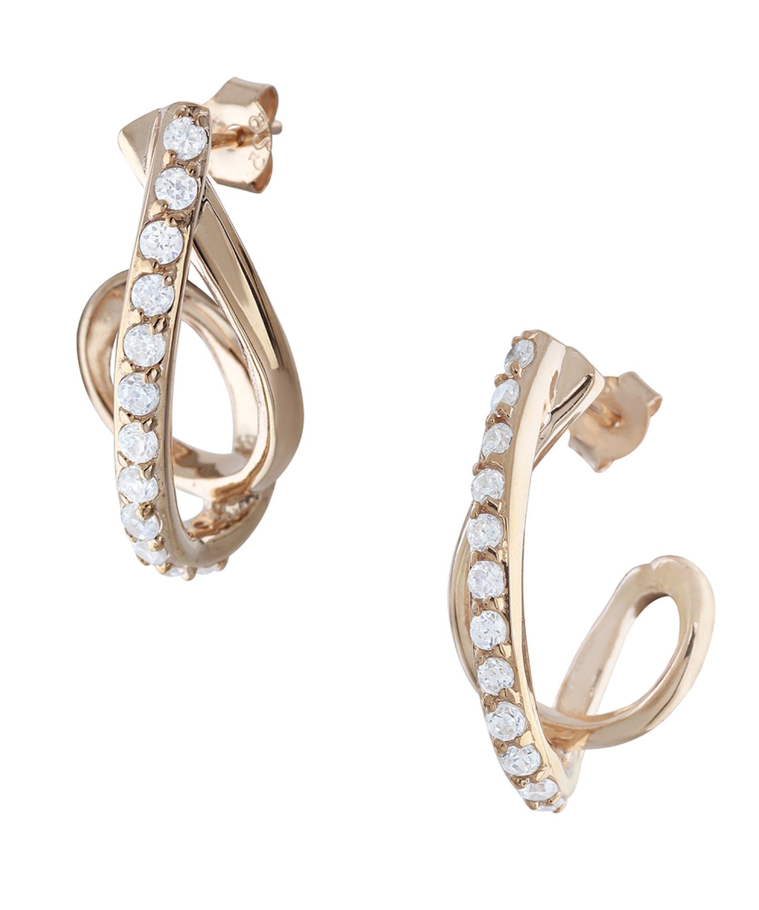 Sterling Silver Rose Gold Embraced Round Cut Simulated Diamond Twisted J Hoop Earrings