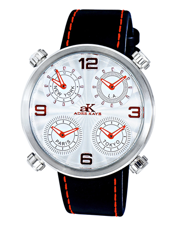 """"""" 4 TIME ZONE WATCH, DOUBLE LAYER DIAL, GENUINE LEATHER BAND, 2275-M/SV"""
