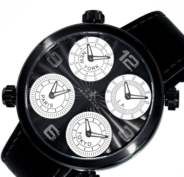 4-TIME ZONE WATCH, DOUBLE LAYER DIAL, GENUINE LEATHER BAND, AK2275-MIPBK, RETAIL AT $525.00