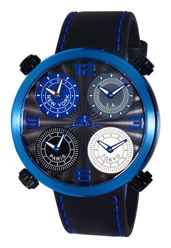 4-TIME ZONE WATCH, DOUBLE LAYER DIAL, GENUINE LEATHER BAND, AK2275-MIPBU, RETAIL AT $525.00