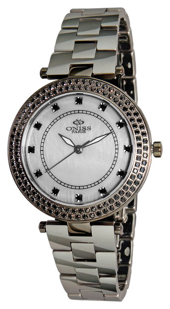 """""""BLACK CZ CRYSTAL, MOTHER OF PEARL DIAL, TUNGSTEN AND STAINLESS STEEL, ONISS ON6203-LBK"""