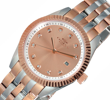 Stainless Rose tone Steel-Sunray Dial Watch w/ Ridged Bezel Design-2 TONE Rose , ON6669-LTTRG-RGD , RETAIL AT $475.00