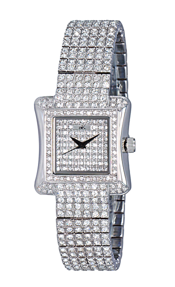 """(1) ADEE KAYE AK6690-L """"AUSTRIAN CRYSTAL ON THE DIAL, CASE AND BAND, JAPAN QUARTZ MOVEMENT"""