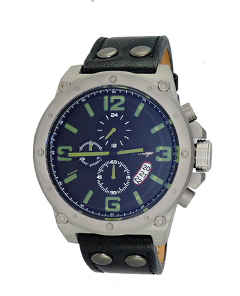 (1) CHRONOGRAPH JAPAN MOV'T.GENUINE LEATHER BAND , AK8896-MT/BK_G (7281_LBN), RETAIL AT $675.00