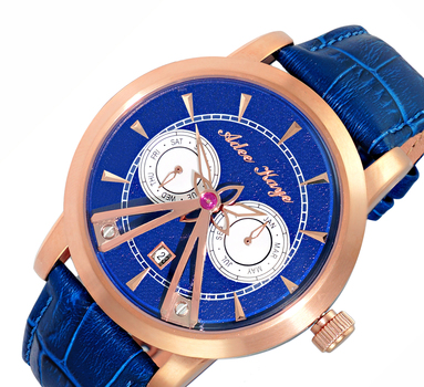 18- JEWELS DAY-DATE AUTOMATIC MOVEMENT, GENUINE LEATHER BAND, AK8871-RGBU, RETAIL AT $725.00