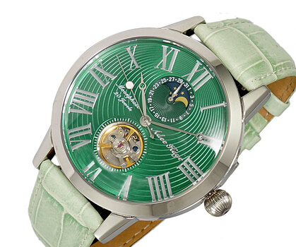 20 Jewels Automatic Movement with Moon Phase Complication, AK2269-11GN-LGN-FRT RETAIL AT $645.00