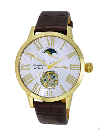 20 Jewels Automatic Movement with Moon Phase Complication, AK2269-17GWT, RETAIL AT $645.00