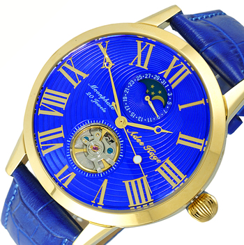 20 Jewels Automatic Movement with Moon Phase Complication, AK2269-18GBUBU -  RETAIL AT $645.00