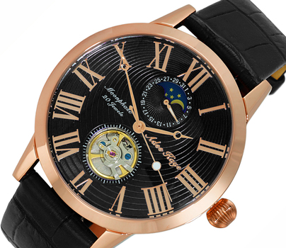 20 Jewels Automatic Movement with Moon Phase Complication, AK2269-19RGBK-BK, RETAIL AT $645.00