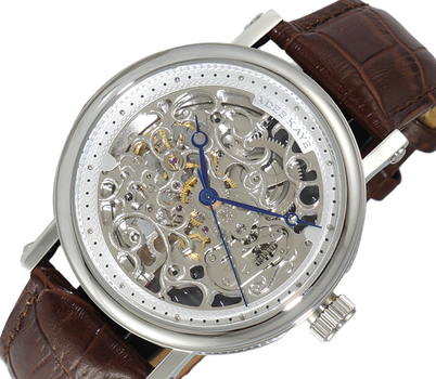 20 JEWELS SKELETON AUTOMATIC, BROWN GENUINE LEATHER BAND, AK6463-MSV-BN, RETAIL AT $675.00